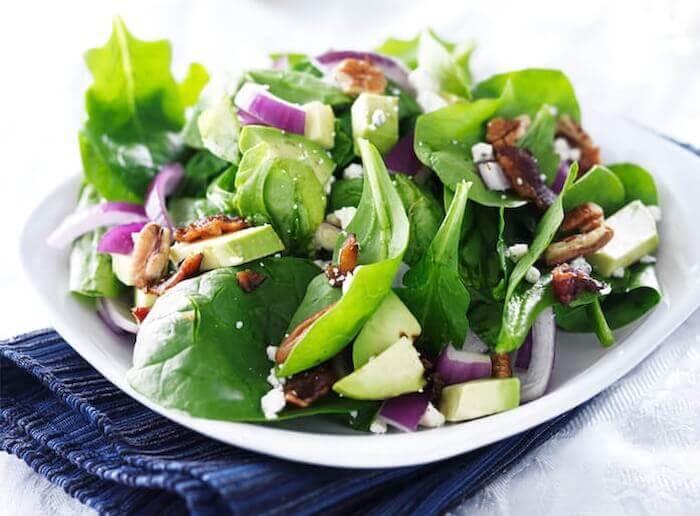 raw spinach leafy greens salad