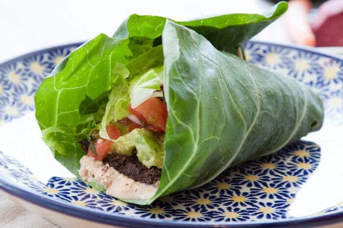 vegetable wraps using collard greens