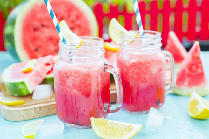 healthy summer watermelon slushies