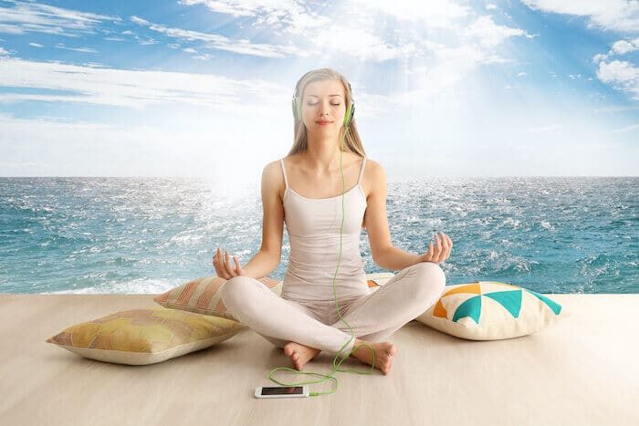 woman using synctuition meditation program